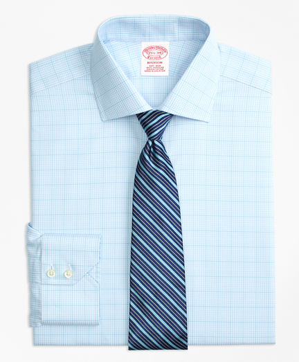 Madison Classic-Fit Dress Shirt, Non-Iron Houndstooth Overcheck