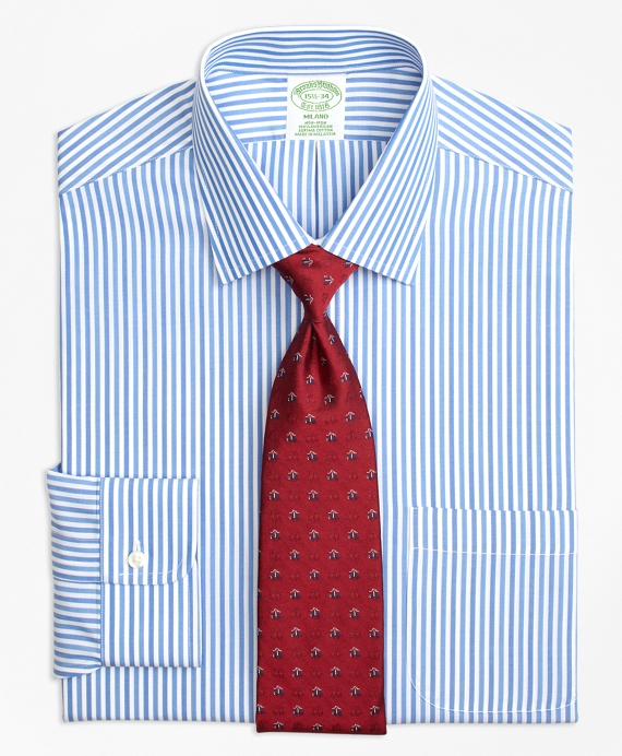 Milano Slim-Fit Dress Shirt, Non-Iron Tonal Bengal Stripe Blue