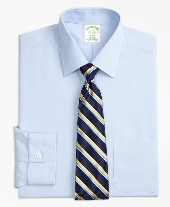Stretch Milano Slim-Fit Dress Shirt, Non-Iron Hairline Stripe BLUE