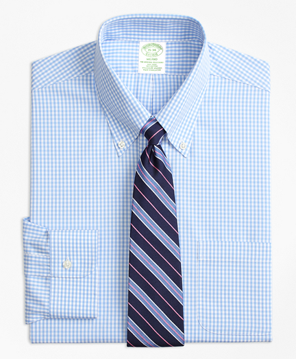 Stretch Milano Slim-Fit Dress Shirt, Non-Iron Gingham