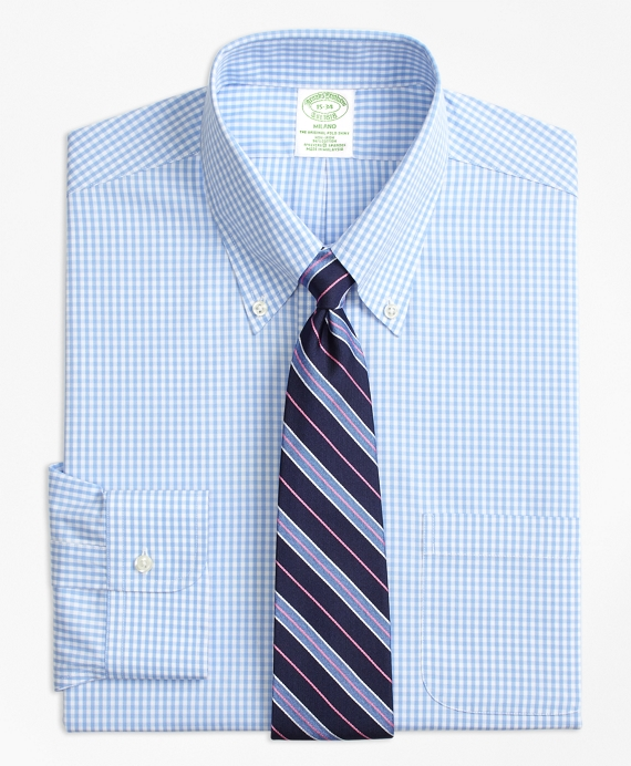 Stretch Milano Slim-Fit Dress Shirt, Non-Iron Gingham Light Blue