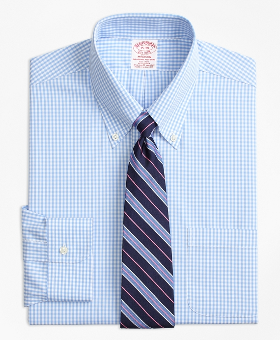 Stretch Madison Classic-Fit Dress Shirt, Non-Iron Gingham