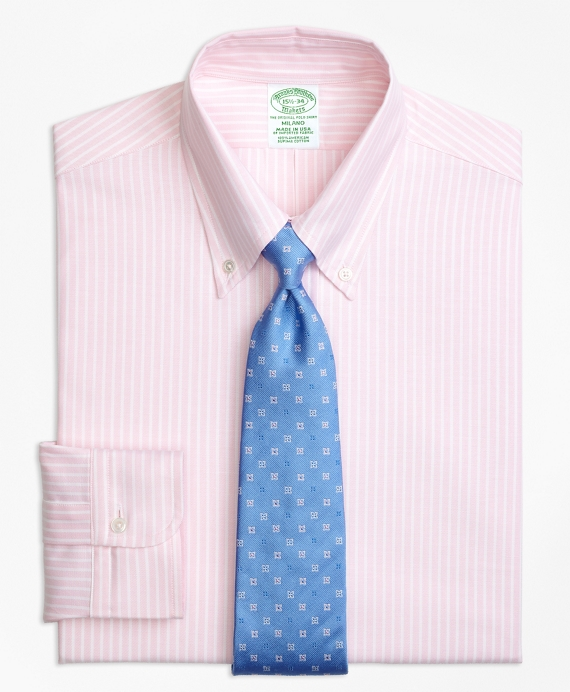 Original Polo® Button-Down Oxford Milano Slim-Fit Dress Shirt, Ground Stripe Light Pink