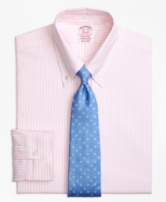 Original Polo® Button-Down Oxford Traditional Relaxed-Fit Dress Shirt, Ground Stripe Light Pink