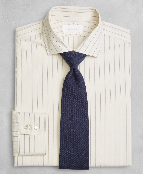 Golden Fleece® Regent Fitted Dress Shirt, English Collar Dobby Alternating Triple Stripe