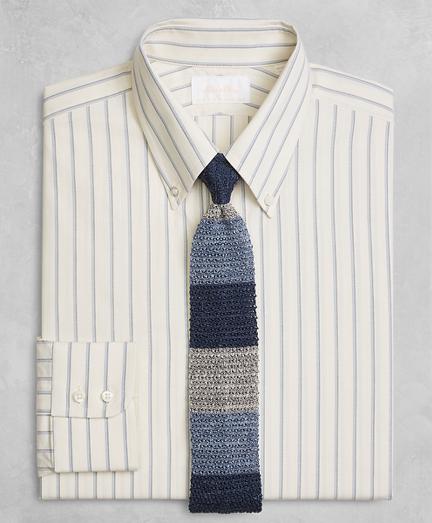 Golden Fleece® Milano Slim-Fit Dress Shirt, Button-Down Collar Double-Twin Stripe