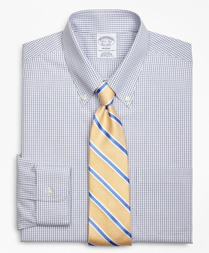 Regent Fitted Dress Shirt, Non-Iron Double-Mini Windowpane