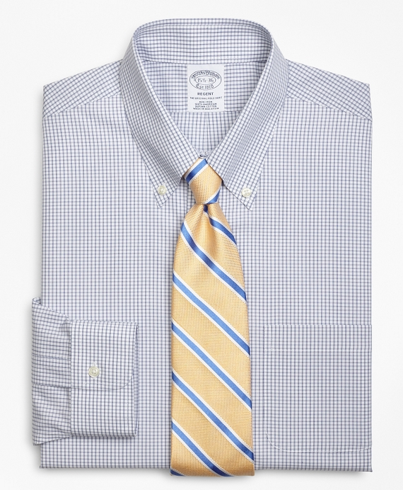 Regent Fitted Dress Shirt, Non-Iron Double-Mini Windowpane Blue