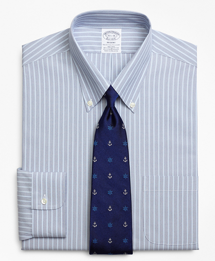 Stretch Regent Fitted Dress Shirt, Non-Iron Mini BB#1 Alternating Stripe