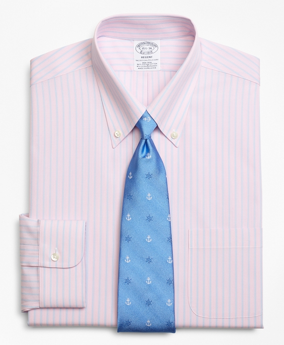 Stretch Regent Fitted Dress Shirt, Non-Iron Mini BB#1 Alternating Stripe