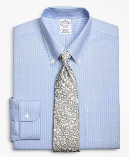 BrooksCool® Regent Fitted Dress Shirt, Non-Iron Ground Double-Stripe
