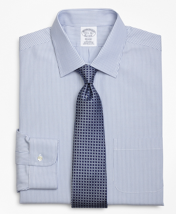 Regent Fitted Dress Shirt, Non-Iron Tonal Framed Stripe Blue