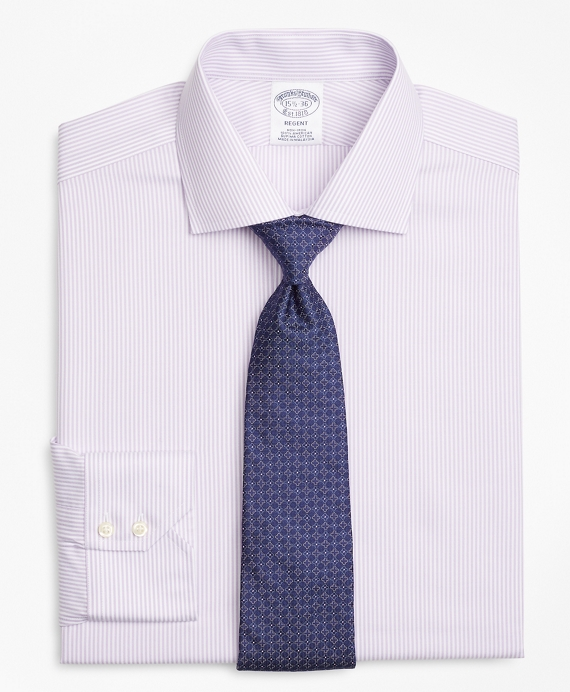 Regent Fitted Dress Shirt, Non-Iron Herringbone Candy Stripe Purple