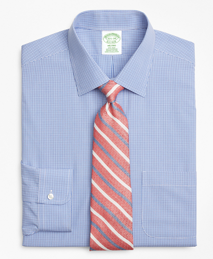Milano Slim-Fit Dress Shirt, Non-Iron Micro-Framed Gingham