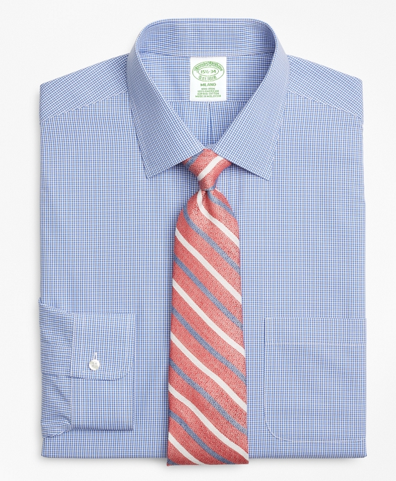 Milano Slim-Fit Dress Shirt, Non-Iron Micro-Framed Gingham Blue