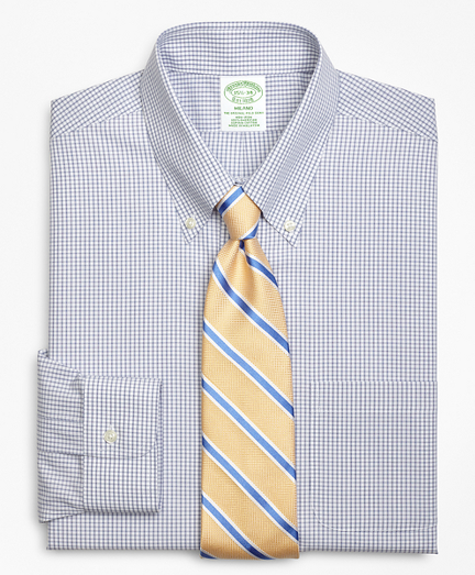 Milano Slim-Fit Dress Shirt, Non-Iron Double Mini-Windowpane
