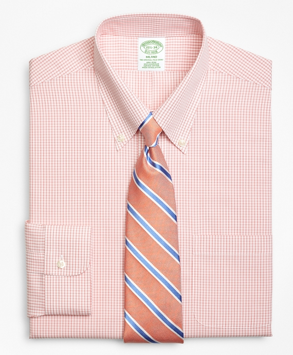 Milano Slim-Fit Dress Shirt, Non-Iron Double Mini-Windowpane