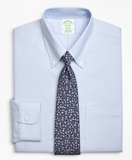 BrooksCool® Milano Slim-Fit Dress Shirt, Non-Iron Micro-Double Check