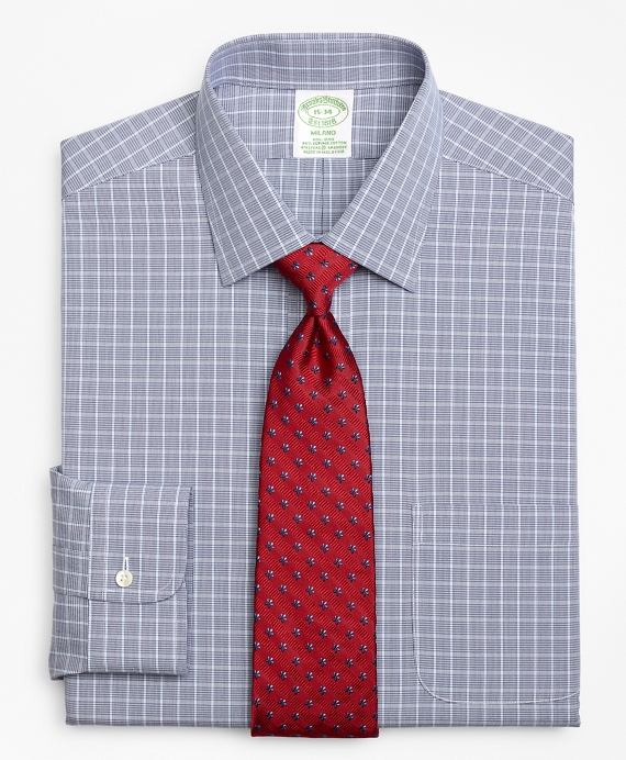 Stretch Milano Slim-Fit Dress Shirt, Non-Iron Houndstooth Overcheck Blue