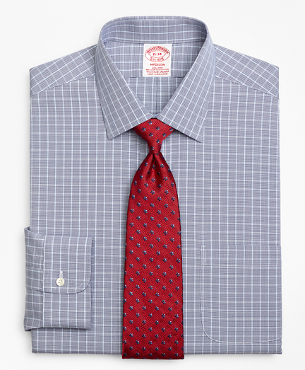 Stretch Madison Classic-Fit Dress Shirt, Non-Iron Houndstooth Overcheck