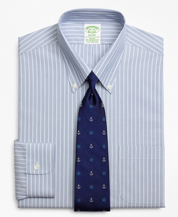 Stretch Milano Slim-Fit Dress Shirt, Non-Iron Mini BB#1 Alternating Stripe