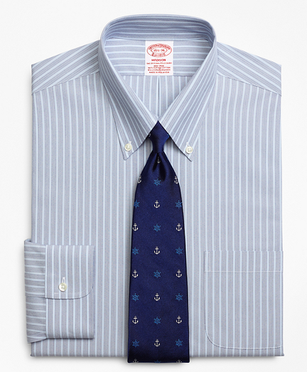 Stretch Madison Classic-Fit Dress Shirt, Non-Iron Mini BB#1 Alternating Stripe