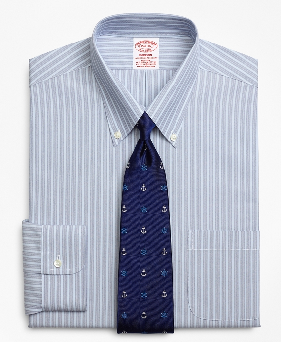 Stretch Madison Classic-Fit Dress Shirt, Non-Iron Mini BB#1 Alternating Stripe Blue