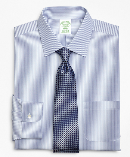 Milano Slim-Fit Dress Shirt, Non-Iron Tonal Framed Stripe