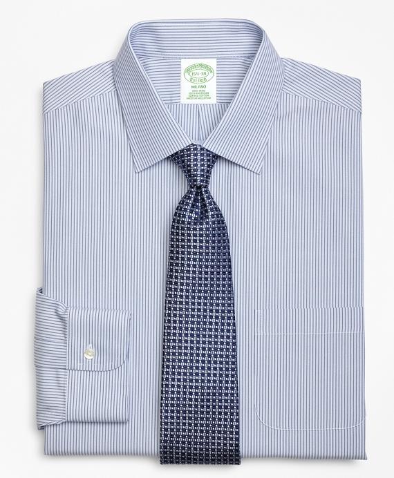 Milano Slim-Fit Dress Shirt, Non-Iron Tonal Framed Stripe Blue