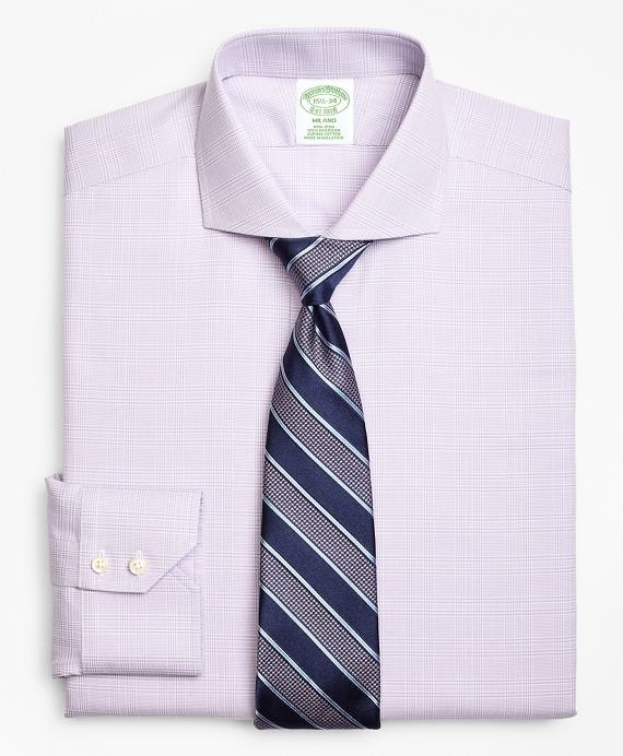 Milano Slim-Fit Dress Shirt, Non-Iron Plaid Purple