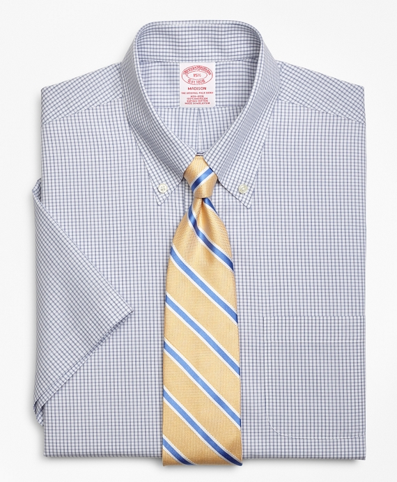 Madison Classic-Fit Dress Shirt, Non-Iron Double Mini-Windowpane Short-Sleeve Blue