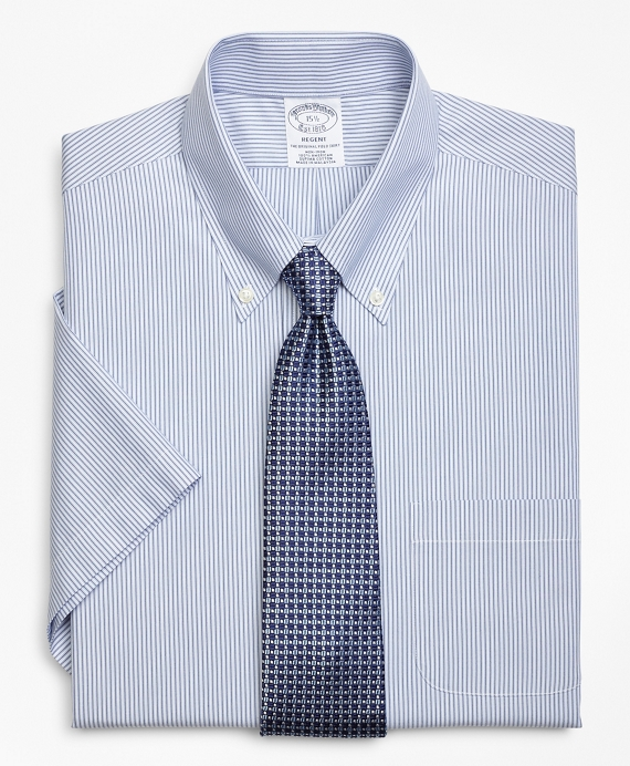 Regent Fitted Dress Shirt, Non-Iron Tonal Framed Stripe Short-Sleeve Blue