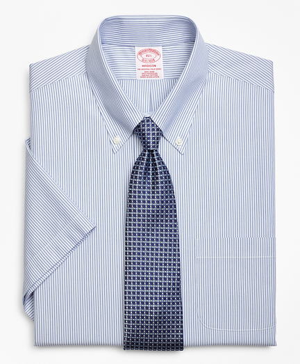 Madison Classic-Fit Dress Shirt, Non-Iron Tonal Framed Stripe Short-Sleeve