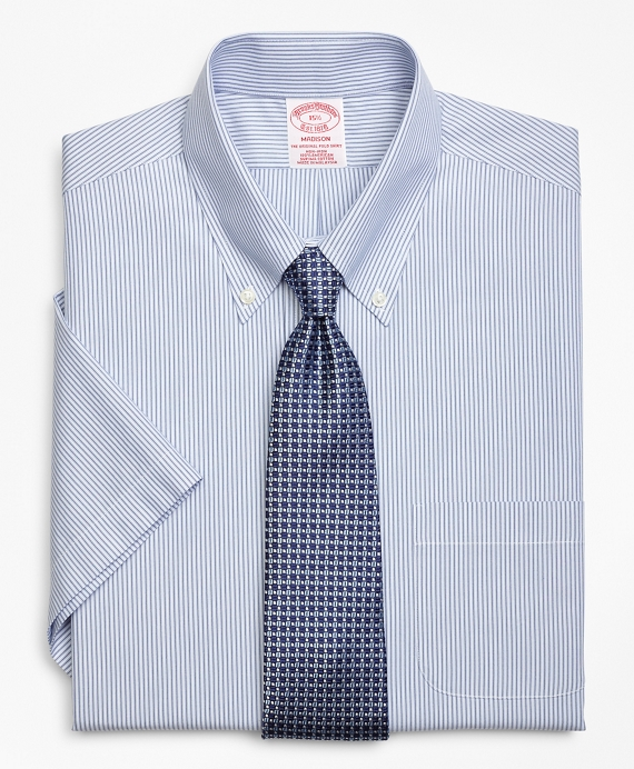 Madison Classic-Fit Dress Shirt, Non-Iron Tonal Framed Stripe Short-Sleeve Blue