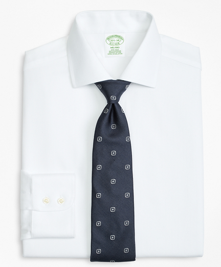 Milano Slim-Fit Dress Shirt, Non-Iron Herringbone