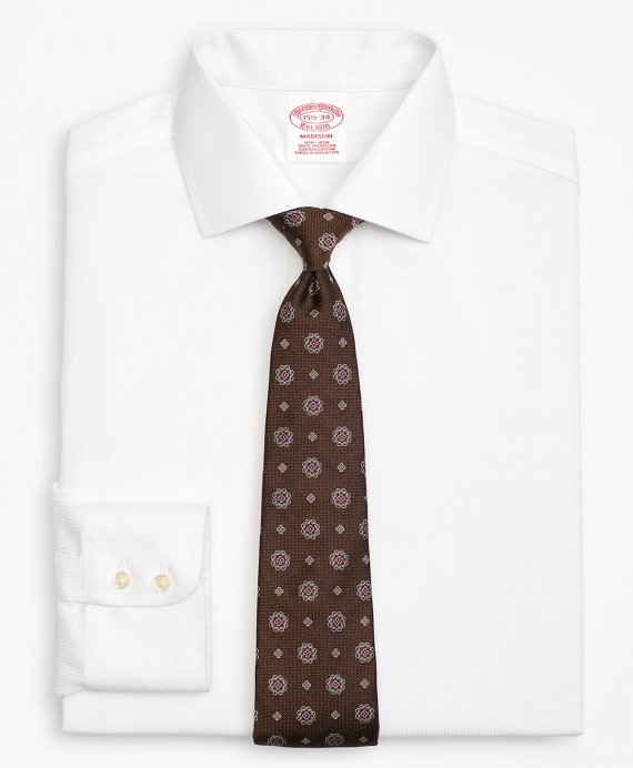 Madison Classic-Fit Dress Shirt, Non-Iron Textured Stripe White