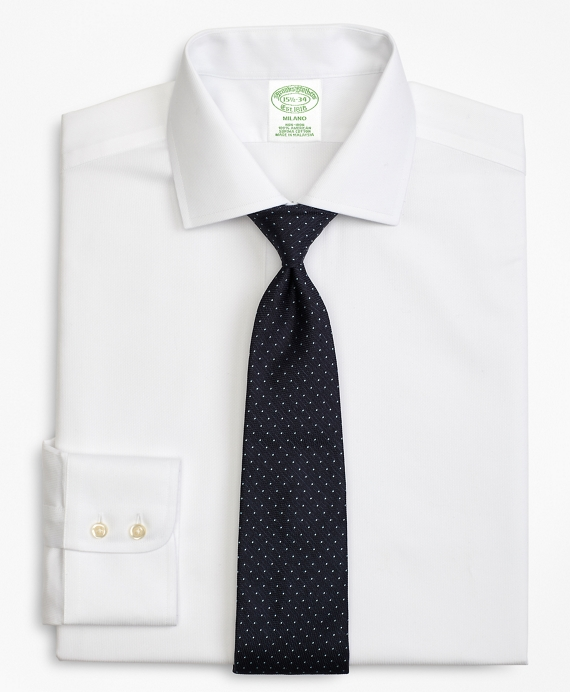 Milano Slim-Fit Dress Shirt, Non-Iron Rope Stripe White