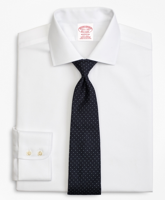Madison Classic-Fit Dress Shirt, Non-Iron Rope Stripe White