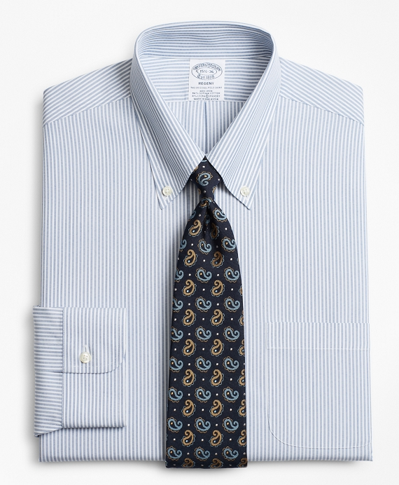Stretch Regent Fitted Dress Shirt, Non-Iron Tonal Framed Stripe Blue