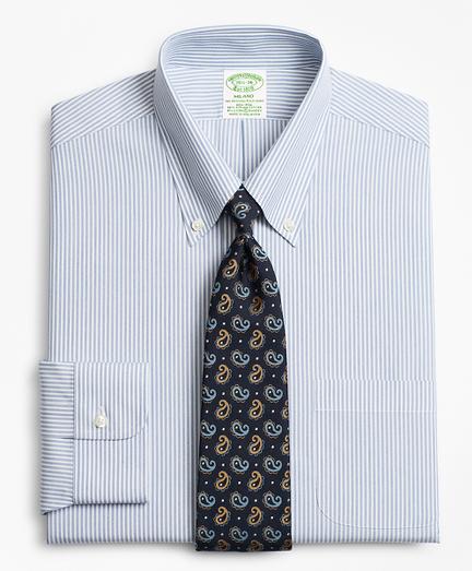Stretch Milano Slim-Fit Dress Shirt, Non-Iron Tonal Framed Stripe