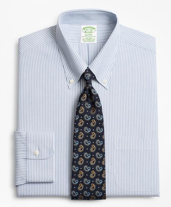 Stretch Milano Slim-Fit Dress Shirt, Non-Iron Tonal Framed Stripe Blue