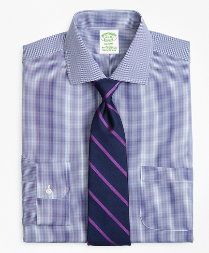 Stretch Milano Slim-Fit Dress Shirt, Non-Iron Two-Tone Gingham