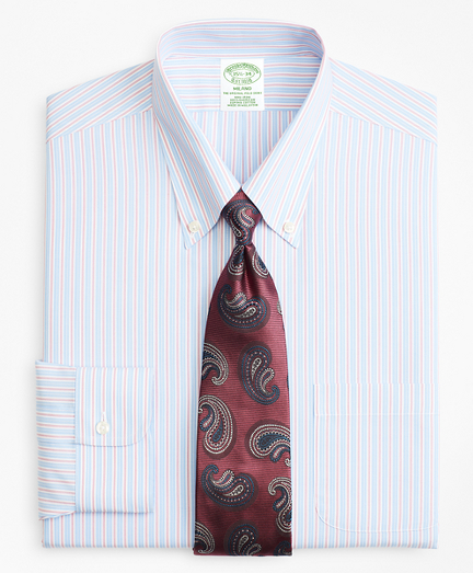 Milano Slim-Fit Dress Shirt, Non-Iron Split Alternating Stripe
