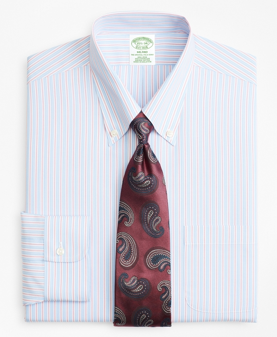 Milano Slim-Fit Dress Shirt, Non-Iron Split Alternating Stripe Blue-Red