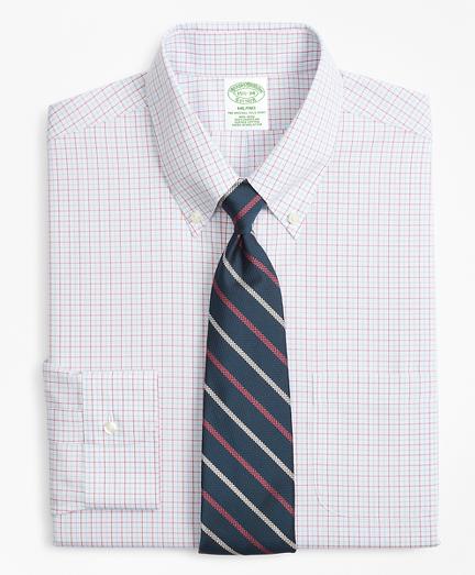 Milano Slim-Fit Dress Shirt, Non-Iron Triple Overcheck