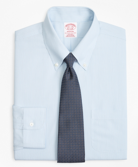 Madison Classic-Fit Dress Shirt, Non-Iron Hairline Alternating Stripe Light Blue-Grey