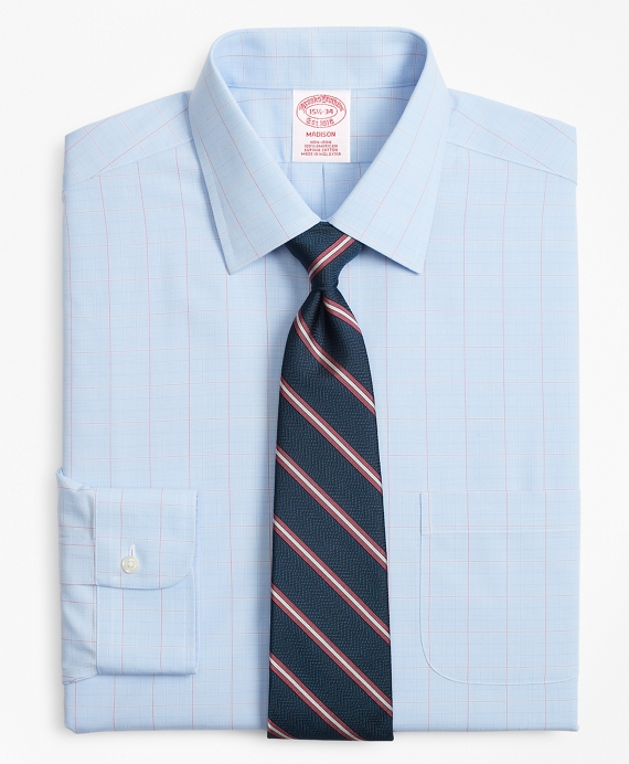 Madison Classic-Fit Dress Shirt, Non-Iron Large Overcheck Blue-Red