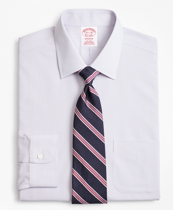Madison Classic-Fit Dress Shirt, Non-Iron Micro-Check Red-Blue