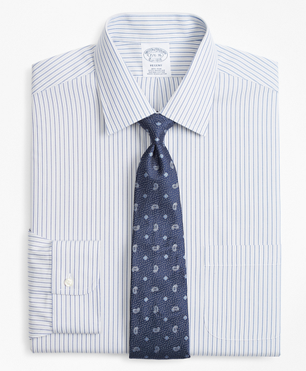 Regent Fitted Dress Shirt, Non-Iron Alternating Double-Stripe