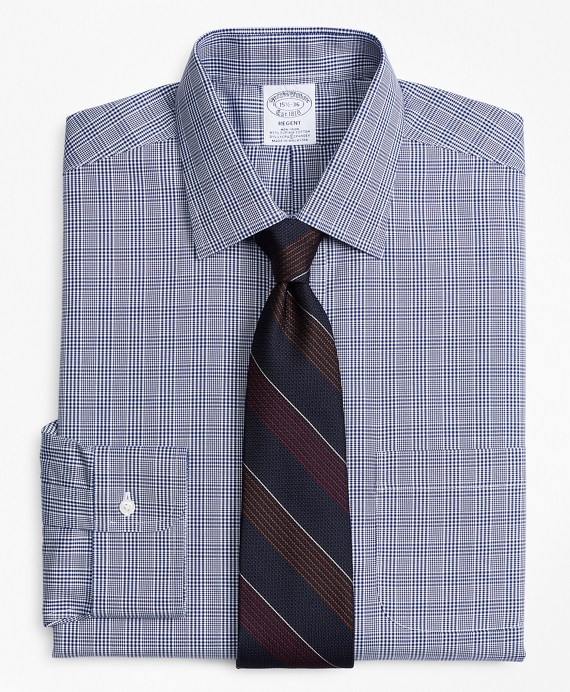 Stretch Regent Fitted Dress Shirt, Non-Iron Glen Plaid Blue